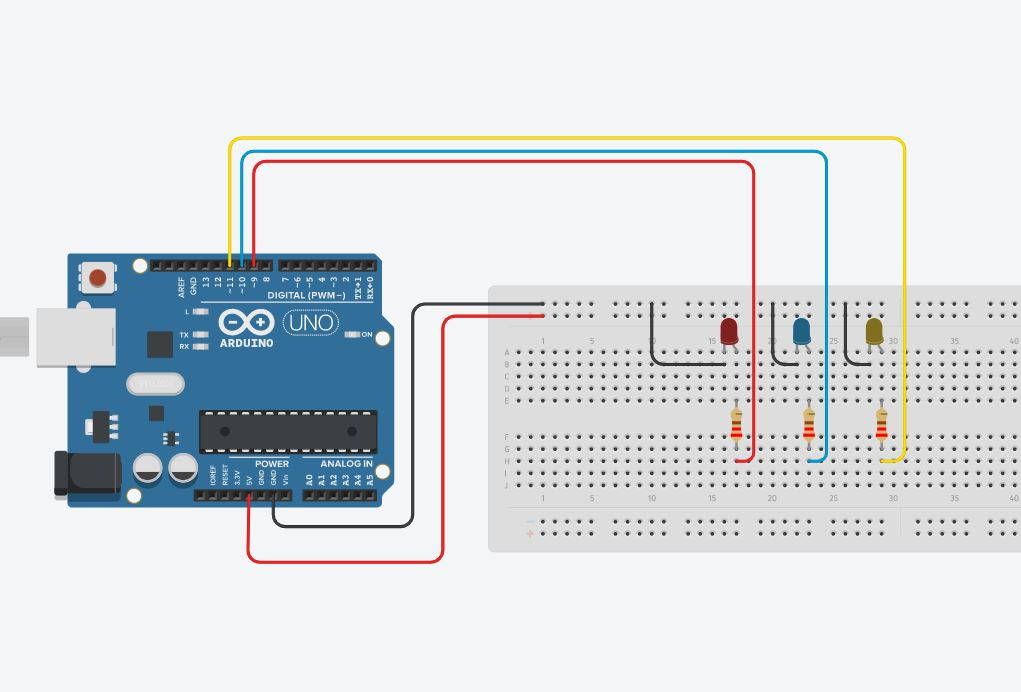 Layout sperimentale Arduino LED fading con PWM